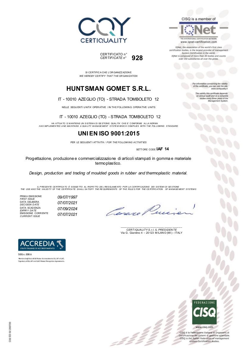 immagine del certificato qualità Certiquality